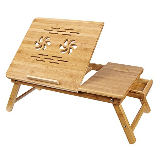SONGMICS-Bamboo-Laptop-Desk-Adjustable-Breakfast-Serving-Bed-Tray-w-Tilting-Top-Drawer-ULLD001-0