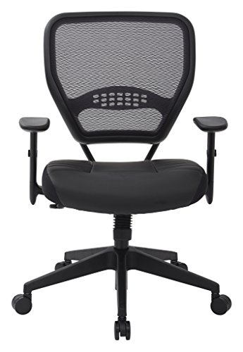 SPACE-Seating-Professional-AirGrid-Dark-Back-and-Padded-Black-Eco-Leather-Seat-Fixed-Arms-and-Lumbar-Support-Sled-Base-Visitors-Chair-0-0