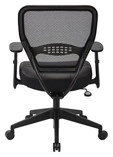 SPACE-Seating-Professional-AirGrid-Dark-Back-and-Padded-Black-Eco-Leather-Seat-Fixed-Arms-and-Lumbar-Support-Sled-Base-Visitors-Chair-0-1