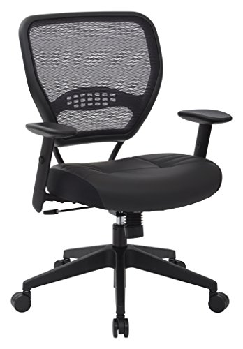 SPACE-Seating-Professional-AirGrid-Dark-Back-and-Padded-Black-Eco-Leather-Seat-Fixed-Arms-and-Lumbar-Support-Sled-Base-Visitors-Chair-0