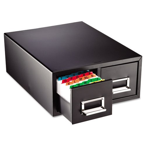 STEELMASTER-Medium-Double-Card-File-Drawer-Fits-4-x-6-Cards-3000-Card-Capacity-1444-x-619-x-16-Inches-Black-263F4616DBLA-0