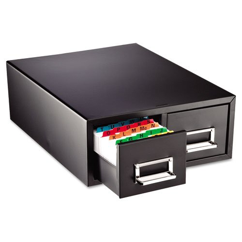 STEELMASTER-Small-Double-Card-File-Drawer-Fits-3-x-5-Cards-3000-Card-Capacity-1231-x-519-x-16-Inches-Black-263F3516DBLA-0