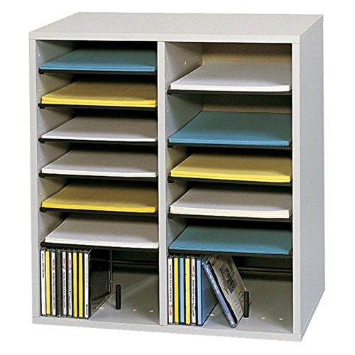 Safco-9422GR-Wood-Adjustable-Literature-Organizer-with-16-Compartment-Gray-0
