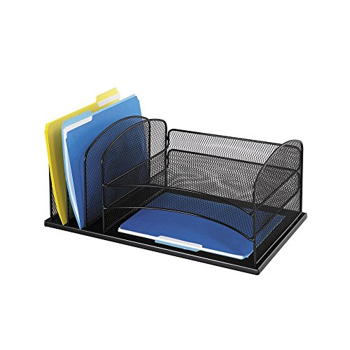 Safco-Products-3254BL-Onyx-Mesh-Desktop-Organizer-with-3-Horizontal3-Upright-sections-0