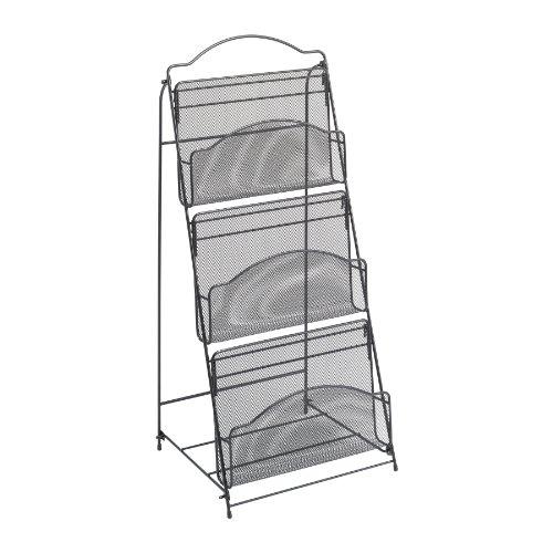 Safco-Products-6460BL-Onyx-Mesh-Floor-Rack-3-Pocket-Black-0