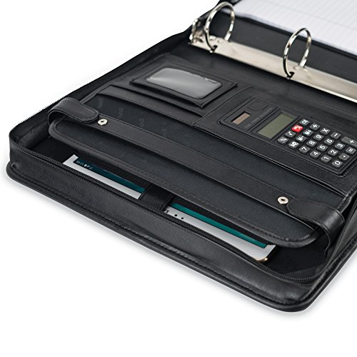 Samsill-Professional-Portfolio-with-Zippered-Closure-Case-2-Inch-Removable-Ring-Binder-Retractable-Handles-Letter-Size-Writing-Pad-Interior-101-Inch-Tablet-Sleeve-Black-0-1