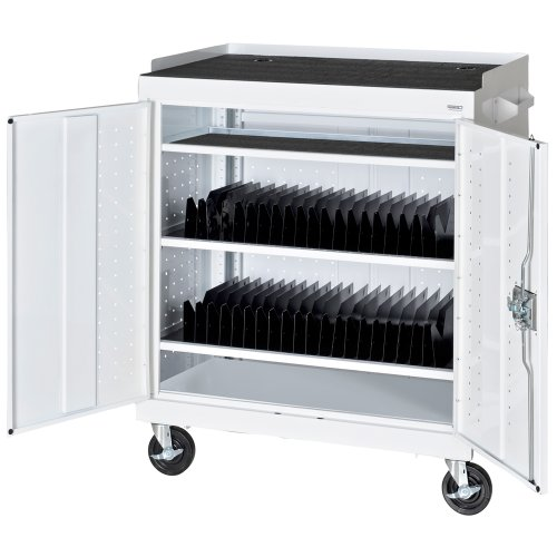 Sandusky-MTS362437-22-White-Mobile-Tablet-Storage-Cart-3-Shelves-Recessed-Paddle-Lock-Handle-43-Height-x-36-Width-x-24-Depth-0