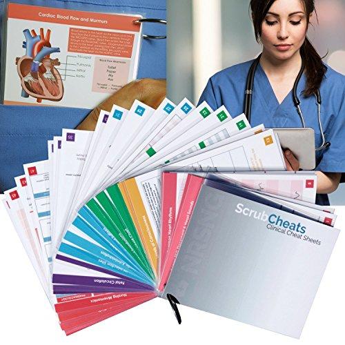 ScrubCheats 50 Laminated Nursing Reference Cards 4X6 Fits In Scrub Pocket MedSurg Critical Care Pharmacology OB Peds Respiratory Cardiac