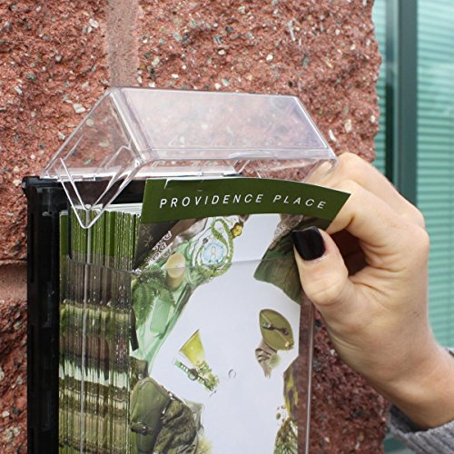 Set-of-3-Outdoor-Leaflet-Holders-for-4-x-9-Trifold-Brochures-Wall-Mounted-Literature-Displays-with-Hinged-Lid-Prevent-Rain-and-Moisture-from-Entering-Clear-Polycarbonate-with-Black-Backer-0-1