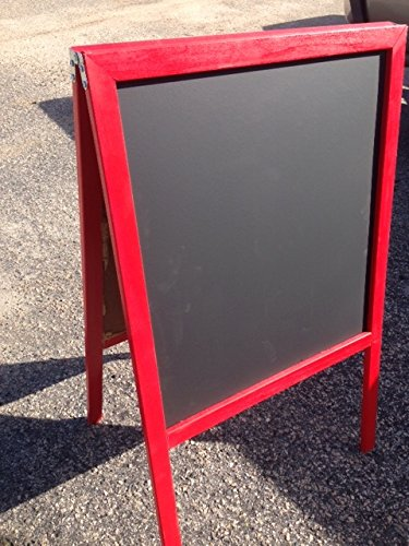 Sidewalk-Display-Sign-Easel-39-X-24-Black-Chalkboard-Double-Sided-Hardwood-Frame-Red-0-0