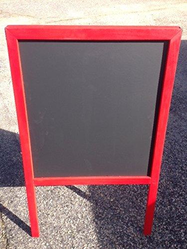 Sidewalk-Display-Sign-Easel-39-X-24-Black-Chalkboard-Double-Sided-Hardwood-Frame-Red-0