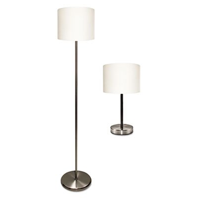 Slim-Line-Lamp-Set-Table-12-58-High-and-Floor-61-12-High-SilverWhite-Sold-as-1-Package-0