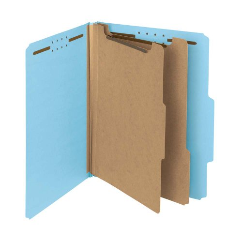 Smead-100-Recycled-Pressboard-Classification-File-Folder-2-Dividers-2-Expansion-Letter-Size-Blue-10-per-Box-14021-0