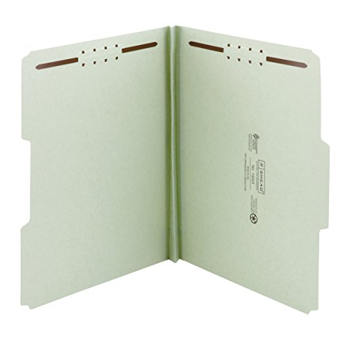Smead-100-Recycled-Pressboard-Fastener-File-Folder-13-Cut-Tab-1-Expansion-Letter-Size-GrayGreen-25-per-Box-15003-0