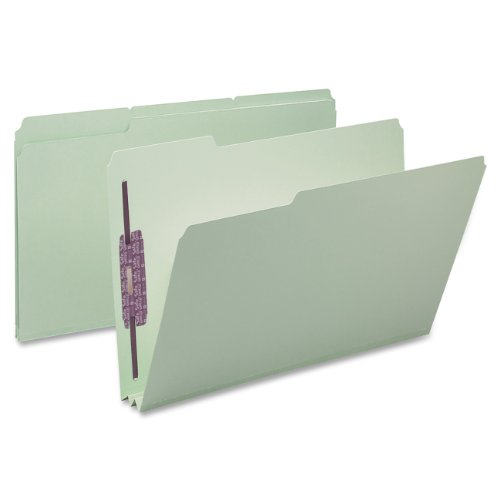 Smead-Pressboard-File-Folder-with-SafeSHIELD-Fasteners-2-Fasteners-13-Cut-Tab-2-Expansion-Legal-Size-GrayGreen-25-per-Box-19934-0