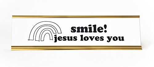 Smile-Jesus-Loves-You-Engraved-Office-Desk-NameplatePlaque-2-x-8-BlackWhite-and-Gold-0