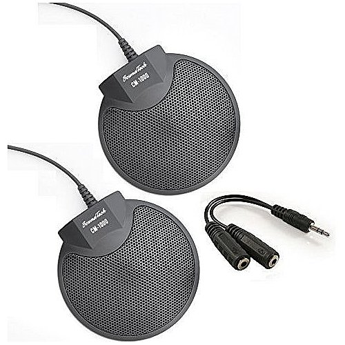 Sound-Tech-CM-1000-Pack-of-2-Table-Top-Conference-Meeting-Microphone-with-Omni-Directional-Stereo-35mm-Plug-Audio-Spliter-0