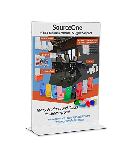 SourceOne-LARGE-Upright-11-w-x-17-t-Premium-Clear-Acrylic-Sign-Holder-Pack-of-5-0