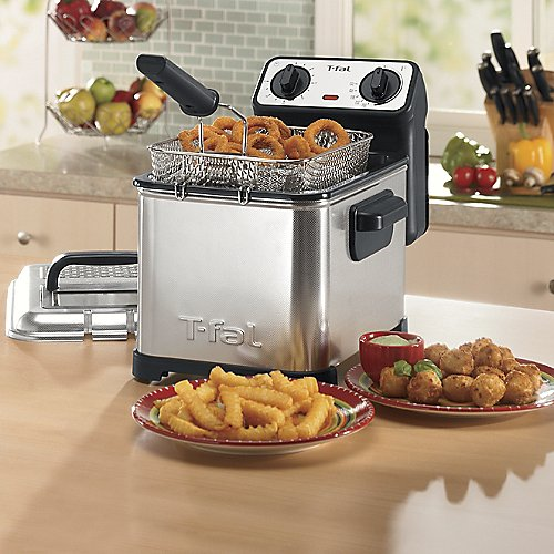 T-fal-FR4049-Family-Pro-3-Liter-Oil-Capacity-Electric-Deep-Fryer-with-Stainless-Steel-Waffle-26-Pound-Silver-0