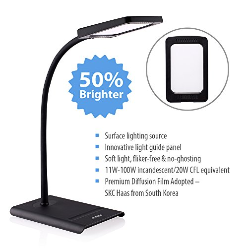 TROND-Halo-10W-Dimmable-LED-Desk-Lamp-Premium-Diffusion-Film-3-Lighting-Modes-7-Level-Dimmer-Touch-Controlled-Memory-Function-Flexible-Gooseneck-Glare-Free-0-0