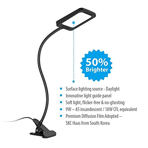 TROND-Halo-9W-C-Dimmable-Daylight-LED-Clamp-Light-Desk-Lamp-w-Extra-Long-Aluminum-Gooseneck-Premium-Diffusion-Film-for-Headboard-Workbench-Studio-Drafting-Table-Bedside-Reading-Task-Lighting-0-0