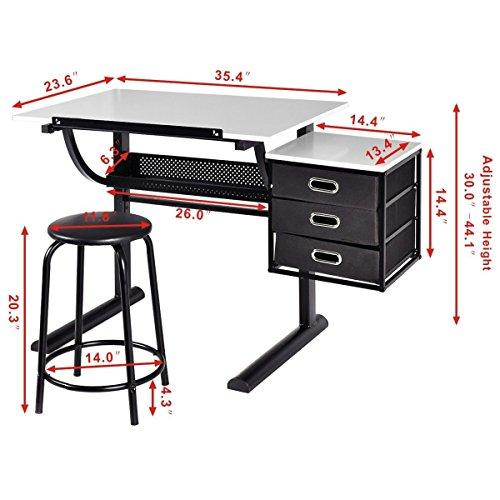 Tangkula-Drafting-Table-Art-Craft-Drawing-Desk-Art-Hobby-Folding-Adjustable-w-Stool-0-0