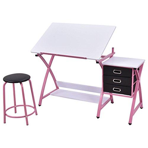 Tangkula-Drafting-Table-Art-Craft-Drawing-Desk-Art-Hobby-Folding-Adjustable-w-Stool-0-3