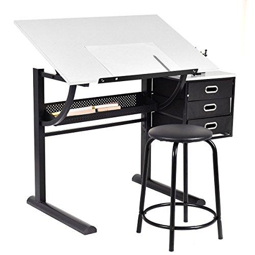 Tangkula-Drafting-Table-Art-Craft-Drawing-Desk-Art-Hobby-Folding-Adjustable-w-Stool-0