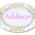 The-Kids-Room-Bunnies-Playing-with-Flowers-Personalized-Oval-Plaque-0-0
