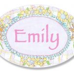 The-Kids-Room-Bunnies-Playing-with-Flowers-Personalized-Oval-Plaque-0