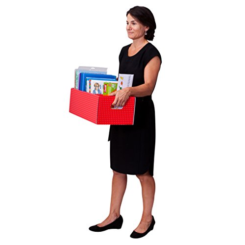 Tote-Box-Mix-Spotty-ColorsStrong-Book-Storage-Theme-and-Display-Box-Pack-of-4-RedBlueGreenDark-Blue-725-x-105-x-215-CITBMIX019962244827-0-0