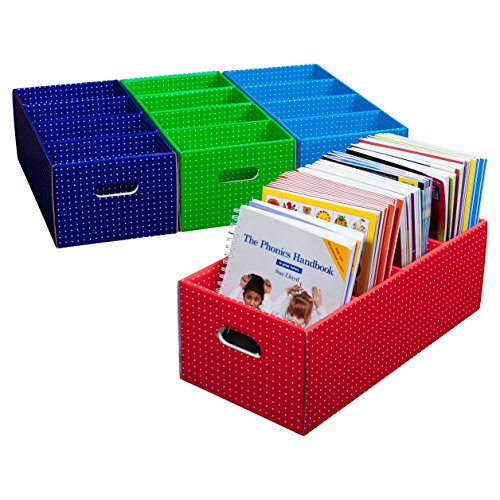 Tote-Box-Mix-Spotty-ColorsStrong-Book-Storage-Theme-and-Display-Box-Pack-of-4-RedBlueGreenDark-Blue-725-x-105-x-215-CITBMIX019962244827-0
