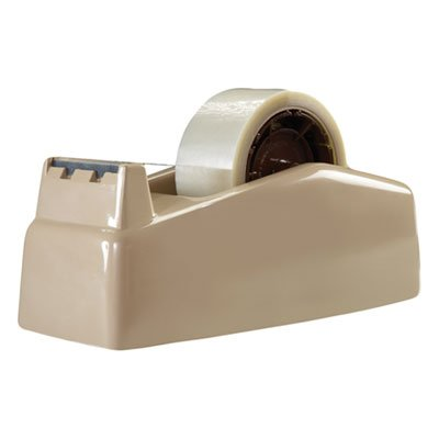 Two-Roll-Desktop-Tape-Dispenser-3-Core-High-Impact-Plastic-Beige-Sold-as-1-Each-0