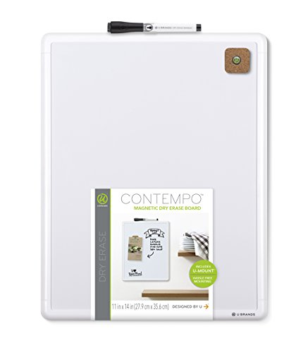 U-Brands-Contempo-Magnetic-Dry-Erase-Board-11-x-14-Inches-White-Frame-0-0