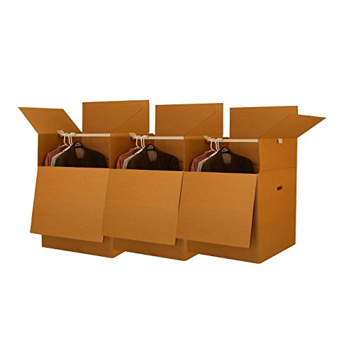 UBOXES-Wardrobe-Moving-Boxes-Shorty-Space-Savers-3-PK-20x20x34-w-Bars-0