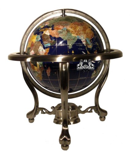 Unique-Art-13-Inch-Tall-Table-Top-Blue-Lapis-Ocean-Gemstone-World-Globe-with-Silver-Tripod-Stand-0