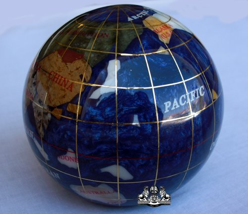 Unique-Art-3-Inch-Bahama-Blue-Pearl-Swirl-Ocean-Gemstone-World-Globe-Paper-Weight-0-1
