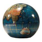 Unique-Art-3-Inch-Bahama-Blue-Pearl-Swirl-Ocean-Gemstone-World-Globe-Paper-Weight-0