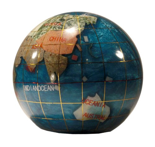 Unique-Art-3-Inch-Bahama-Blue-Pearl-Swirl-Ocean-Gemstone-World-Globe-Paper-Weight-0