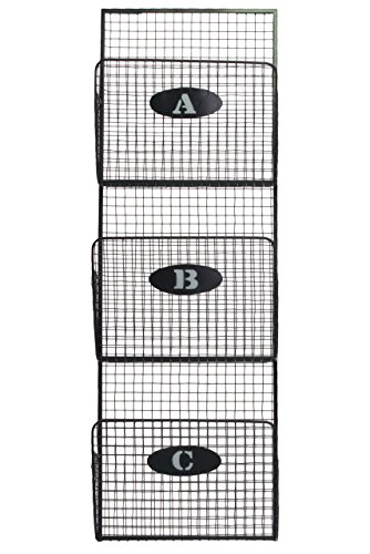 Urban-Trends-Metal-Mail-Organizer-Mesh-Design-with-3-Lettered-Tiers-Gray-0