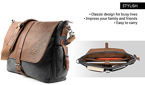 Vetelli-Laptop-Bag-Shoulder-Messenger-Bag-with-ScratchProtect-sleeve-for-Computers-up-to-156-Leather-Canvas-A-bigger-bag-195-x-125-x-45-0-1