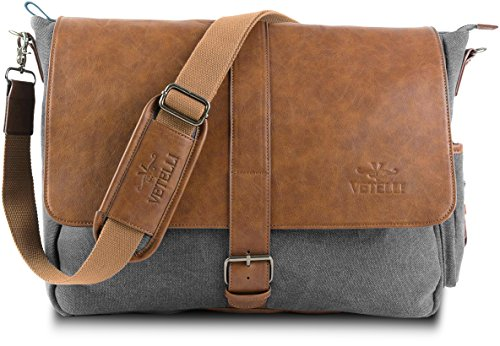 Vetelli-Laptop-Bag-Shoulder-Messenger-Bag-with-ScratchProtect-sleeve-for-Computers-up-to-156-Leather-Canvas-A-bigger-bag-195-x-125-x-45-0