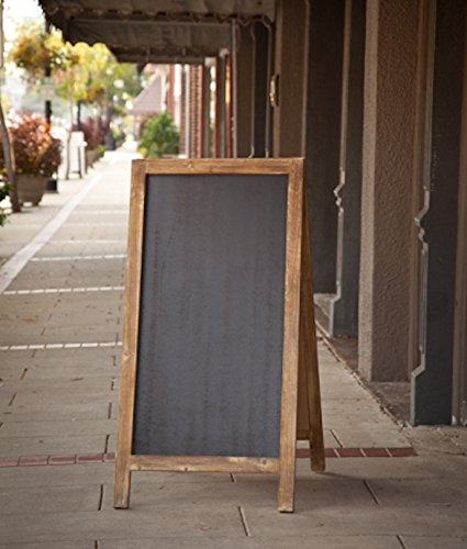 Vintage-Jumbo-Heavy-Weight-Free-Standing-Wood-Frame-Two-Sided-Chalkboard-4-ft-Tall-0