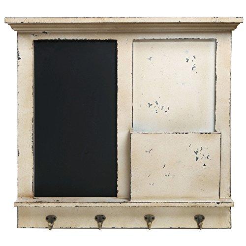Vintage-Wood-Wall-Mounted-Chalkboard-Rack-Magazine-Holder-Mail-Sorter-Basket-4-Coat-Key-Hooks-0-0
