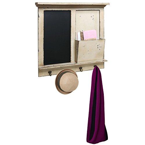Vintage-Wood-Wall-Mounted-Chalkboard-Rack-Magazine-Holder-Mail-Sorter-Basket-4-Coat-Key-Hooks-0-1