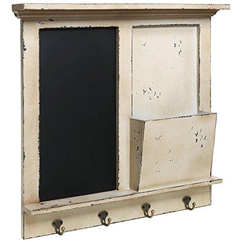 Vintage-Wood-Wall-Mounted-Chalkboard-Rack-Magazine-Holder-Mail-Sorter-Basket-4-Coat-Key-Hooks-0
