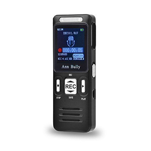Voice-Recorder-AnnBully-Digital-Dictaphone-MP3-Player-Rechargeable-8GB-1536Kbps-560-hours-with-Mini-USB-Port-FastSlow-Playback-A-B-repeat-functionality-Voice-activation-0