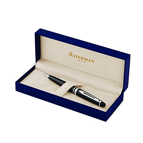 WATERMAN-Expert-Black-Lacquer-with-Golden-Trim-Ballpoint-Pen-with-Blue-ink-S0951700-0