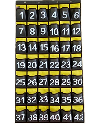 Wall-Door-Hanging-Organizer-with-Hooks-Numbered-Pocket-Charts-for-Classroom-School-Cell-Phones-Calculator-Storage-Canvas-0