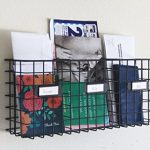 Wall-Mounted-Three-Compartment-Mail-Basket-Letter-Holder-Black-Metal-0